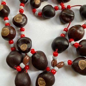 2 Ohio State Buckeye Necklace Hand Strung Beads